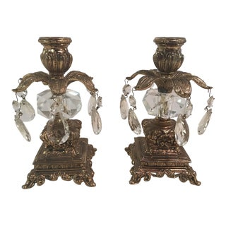 Brass & Crystal Candle Holders - A Pair