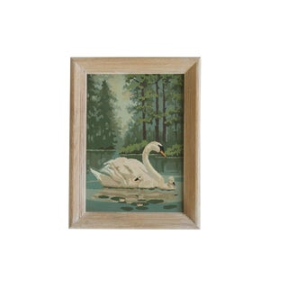 Vintage Paint by Numbers Painting Swans