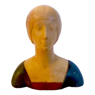 "Late 19th Century Vintage Donatello ""Unknown Woman"" Renaissance Revival Polychrome Plaster For Sale"