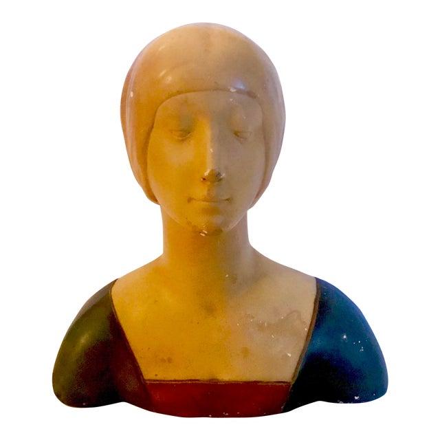 "Late 19th Century Vintage Donatello ""Unknown Woman"" Renaissance Revival Polychrome Plaster For Sale"
