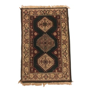 Traditional Oriental Dark Green Wool Rug - 1′6″ × 2′4″