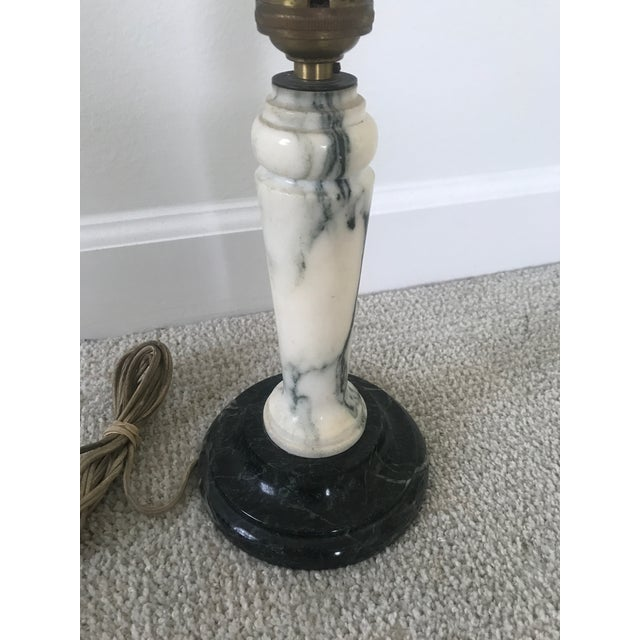 Gorgeous heavy early 20th century Art Deco table lamp, no shade. Made by Vermont marble co. And stamped genuine marble.