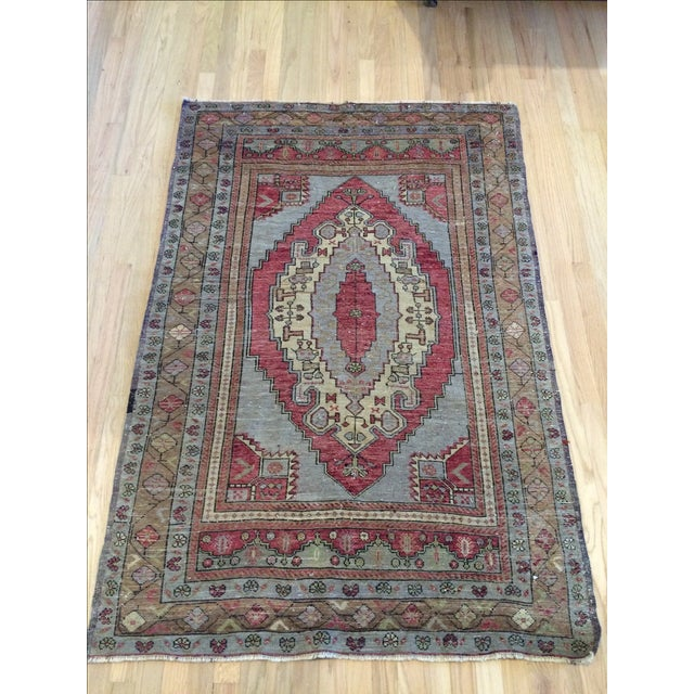 "Antique Turkish Blue & Red Rug - 4' x 5'9"" - Image 2 of 7"