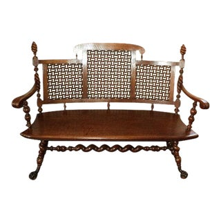 Merklen Brothers Antique Oak Hall Bench, Circa 1885 For Sale