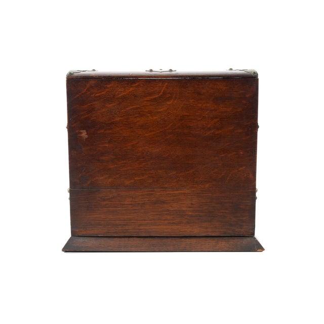 19th C Antique Captain Oak Tantalus & 3 Decanters - Image 9 of 9