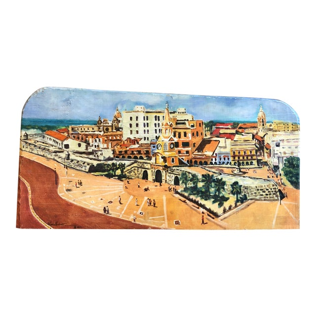 Coastal Cityscape Painting of Cartagena For Sale