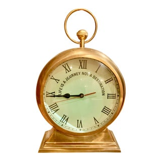 Vintage Oversized Artisan Brass Clock For Sale