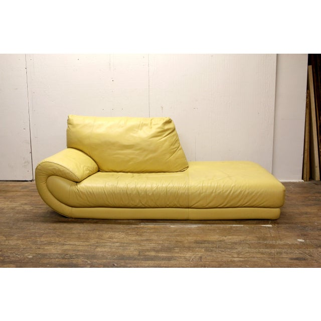 Vintage Mid-Century Modern Nicoletti Italian Leather Canary Yellow Low Daybed For Sale - Image 12 of 12