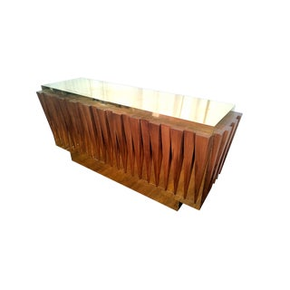 Italian Hand Crafted Brass & Wood Mid Century Modern Sideboard, 1970s For Sale