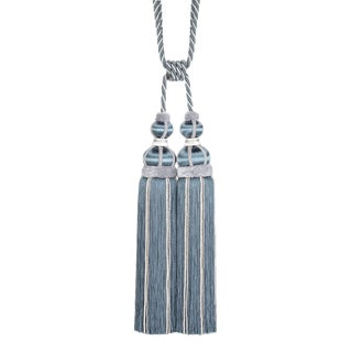 Blue Slate Double Tassel Tieback With Cut Ruche - H 17 Inches For Sale