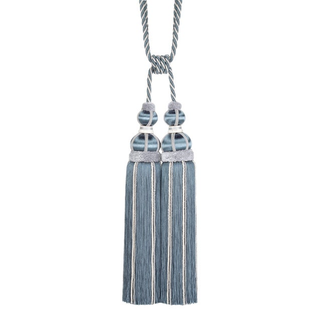 Double Tassel Tieback With Cut Ruche - H 17 Inches For Sale