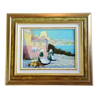 1950s Italian Coastline Oil Painting, by Antonio Marchese For Sale