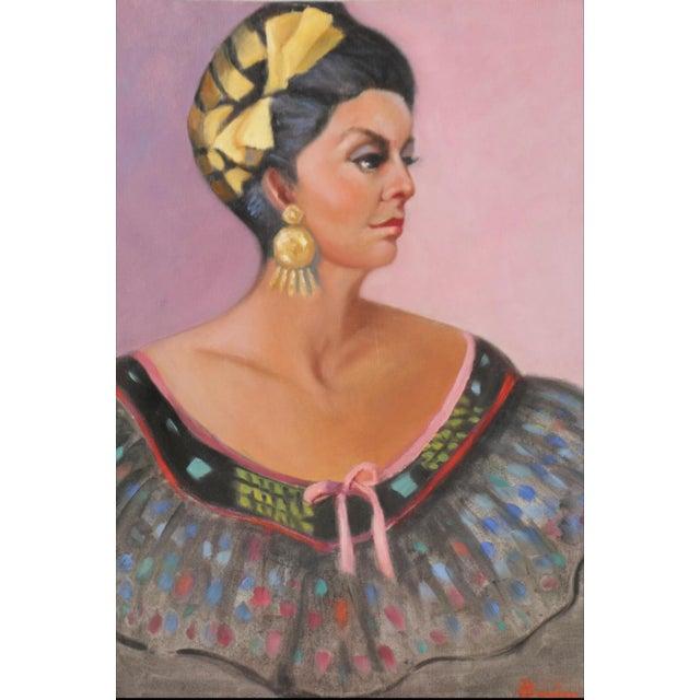 Original Portrait of a Woman Vintage Dress - Image 2 of 9