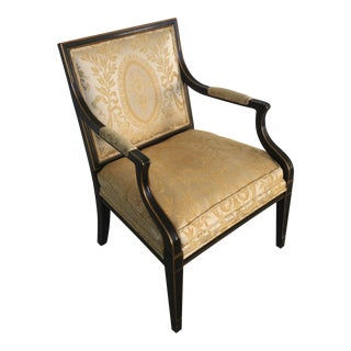 Vintage Louis XVI Neoclassical Gold Accent Bergere Chair