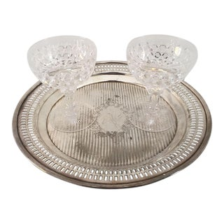 Antique Cut Crystal Sherbet/Champagne Glasses & Tray - Set of 3 For Sale