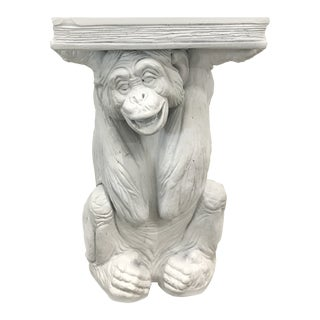 Vintage Plaster Monkey Table For Sale