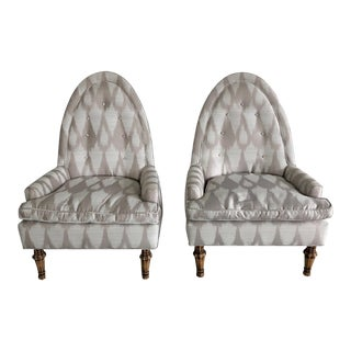 Late 20th Century Vintage Ikat Club Wingback Arm Chairs- A Pair For Sale