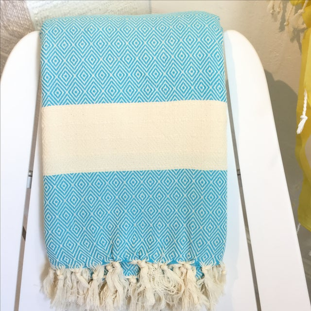 Turkish Turquoise Coverlet - Image 2 of 3