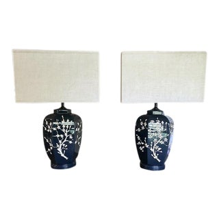 Pair, Mid Century Navy Ceramic Lamps With Cherry Blossom Design For Sale