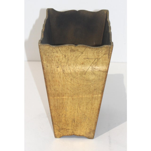 Mid-Century Florentine Giltwood Wastebasket Gilt Wood For Sale In West Palm - Image 6 of 11