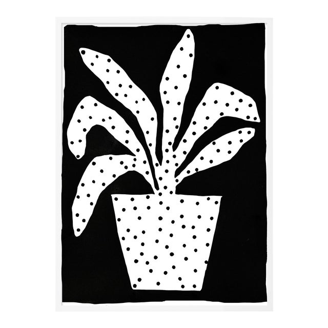 Polkadot Plant by Kate Roebuck in White Framed Paper, Small Art Print For Sale