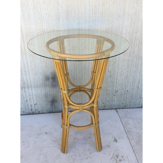 Faux Bamboo 20th Century Set of Four High Round Cocktail Table in Faux Bamboo With Glass Top For Sale - Image 7 of 11