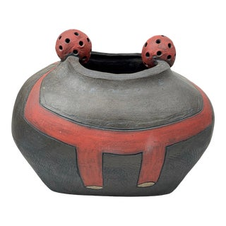 Signed Large Modernist Wood-Fired Studio Ceramic Pottery Vase Vessel For Sale