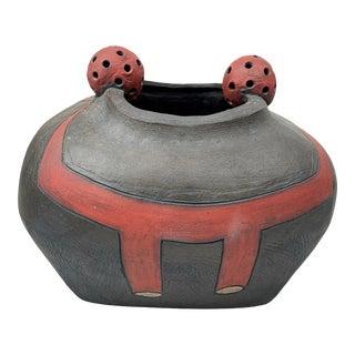 Signed Modernist Wood-Fired Studio Ceramic Pottery Vase Vessel For Sale