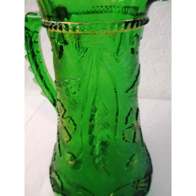 Glass Antique Northwood Emerald Green Glass Pitcher For Sale - Image 7 of 9