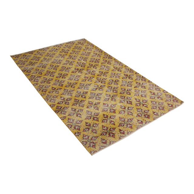Vintage Mid-Century Gold-Yellow and Red Geometric-Floral Wool Rug- 3′10″ × 6′4″ For Sale