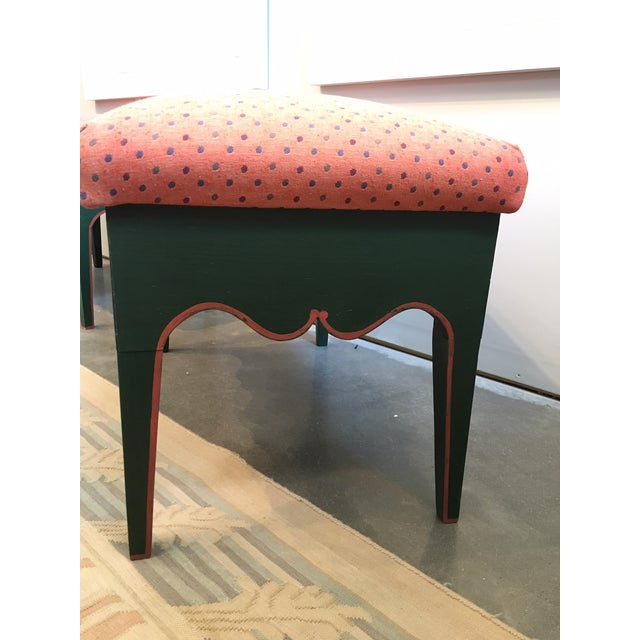 "Pair of Gustavian Style Benches Upholstered Seat in Red with Dots c.1800 h.21"" x w.30"" x d.19"""