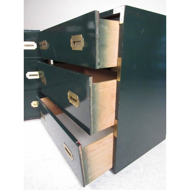 Brass Pair of Vintage Modern Campaign Style Dressers For Sale - Image 8 of 10