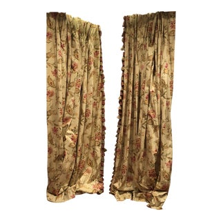 Custom-Made Drapery With Tassel Trim and Yellow Green Colors - a Pair For Sale
