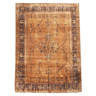 Antique Sparta Design Copper Brown and Royal Blue Wool Rug - 8′ × 11′ For Sale