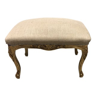 Vintage Ornate Louis XV Giltwood Curved Top Ottoman For Sale