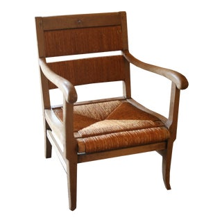 Vintage Mid Century Solid Oak Arm Chair For Sale