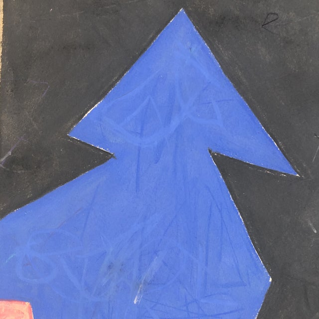 """Abstract Vintage Robert Cooke Abstract """"Blue Tree"""" Pastel Drawing 1981 For Sale - Image 3 of 5"""