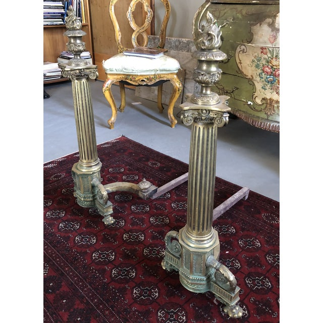 C. 1900 Neo Classical Brass Pillar Fireplace Andirons - a Pair For Sale - Image 13 of 13