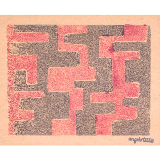 Mid 20th Century 1950s Angelo Testa Signed Geometric Abstract Red & Yellow Prints - a Pair For Sale - Image 5 of 8