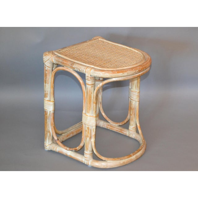 Vintage Bamboo & Cane White Washed Side Table, End Table For Sale - Image 10 of 10