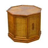 Image of American of Martinsville Faux Bamboo Octagon Wicker One Door Side Table For Sale