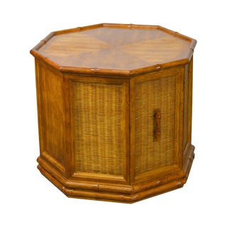 American of Martinsville Faux Bamboo Octagon Wicker One Door Side Table For Sale