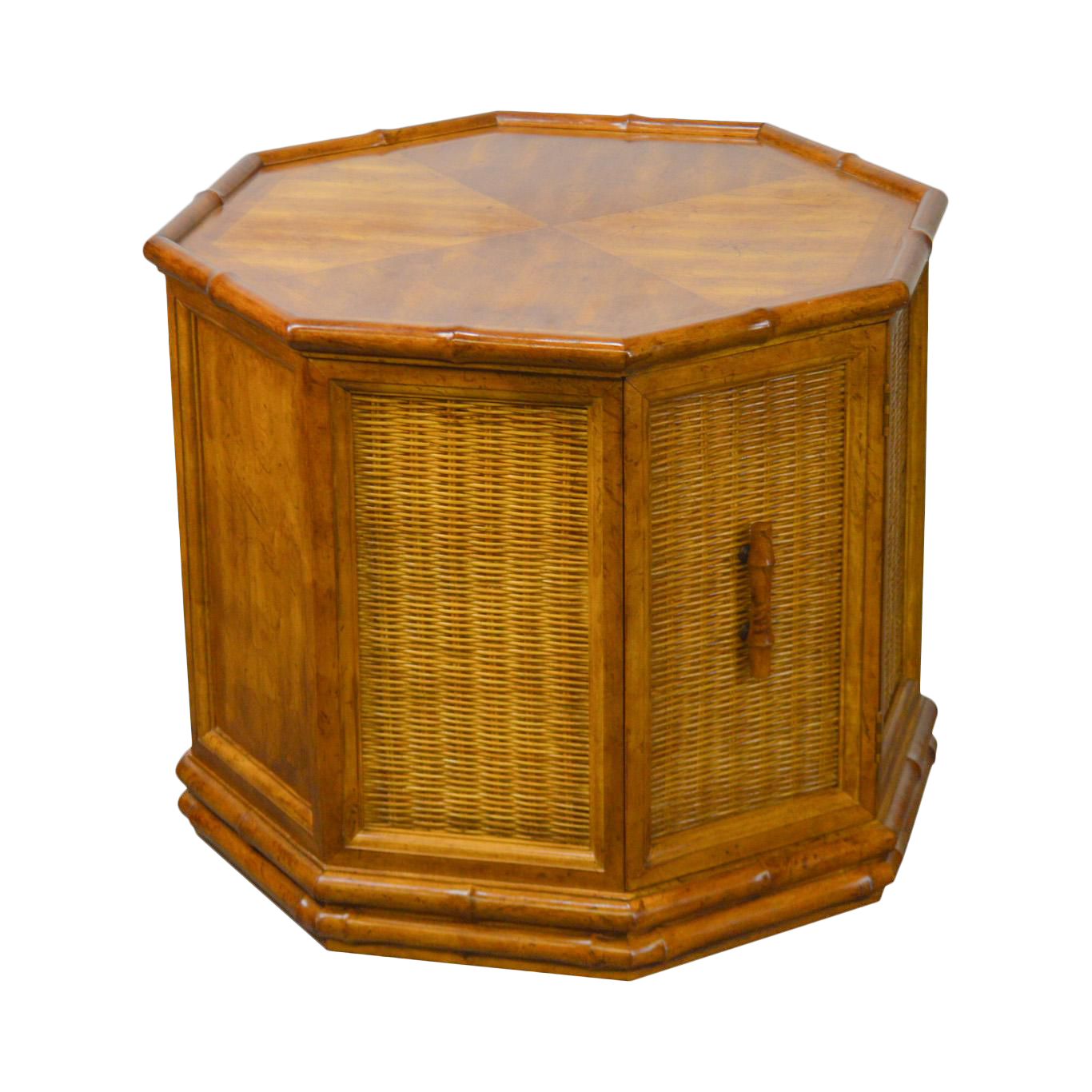 American Of Martinsville Faux Bamboo Octagon Wicker One Door Side Table