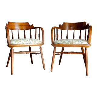 1950s Vintage Drexel Barrel Dining Office Accent Arm Chairs- Pair For Sale
