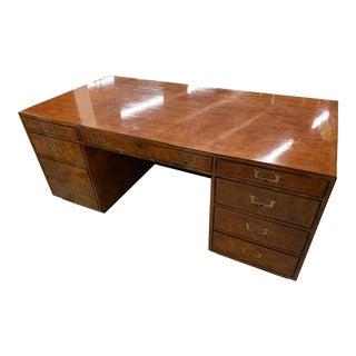 Vintage Mid Century Burl Elm Partners Desk For Sale