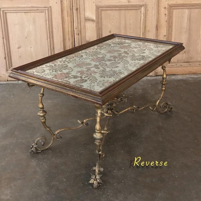 Antique Italian Wrought Iron & Glass Top Coffee Table For Sale - Image 4 of 12