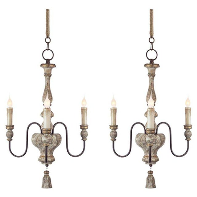 Early 20th Century Pair of Italian Style, Three-arm Chandeliers With Tassel Detail For Sale - Image 5 of 5
