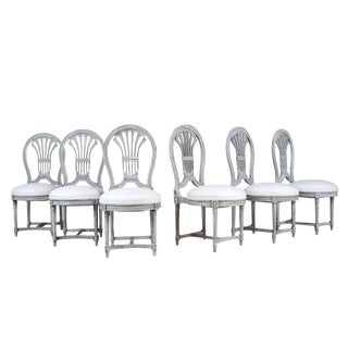 Set of 6 Regency Style Dining Room Chairs With Distressed Finished For Sale