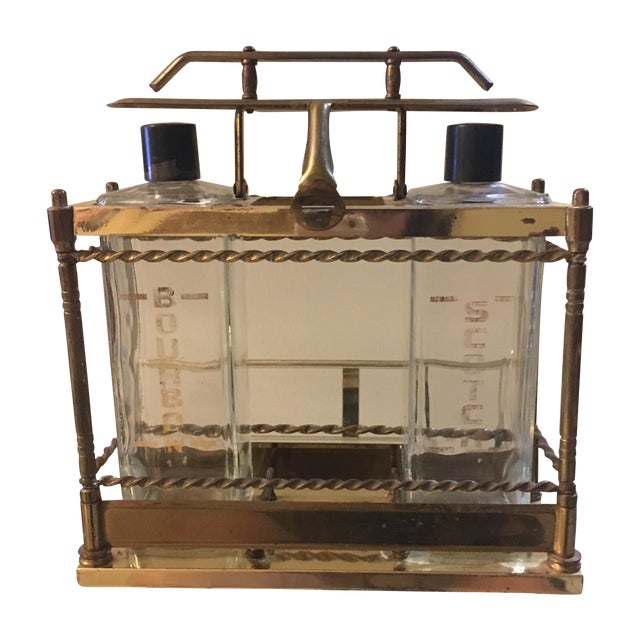 Brass Bar Scotch & Bourbon Decanter Set - Image 1 of 6