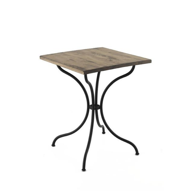 New Round Bistro Table With Wood Top & Iron Base Galvanized metal rod base with epoxy powder coating.